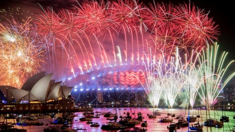 Image result for New Zealand ushers in new year with fireworks display